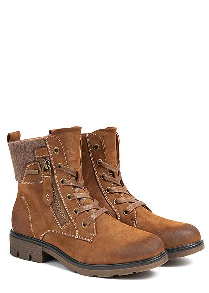 Seventyseven Lifestyle Damen Schuh Kunstleder Worker Boots Deko Zipper camel braun
