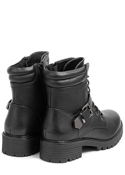 Seventyseven Lifestyle Damen Schuh Kunstleder Worker Boots Deko Schnalle schwarz