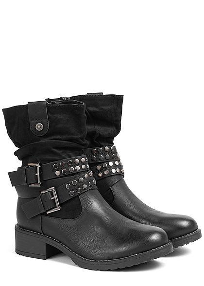 Seventyseven Lifestyle Damen Schuh Kunstleder Halbstiefel Deko Nieten Absatz 4cm schwarz