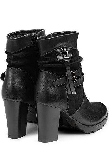 Seventyseven Lifestyle Damen Schuh Kunstleder High-Heel Stiefelette Absatz 9cm schwarz