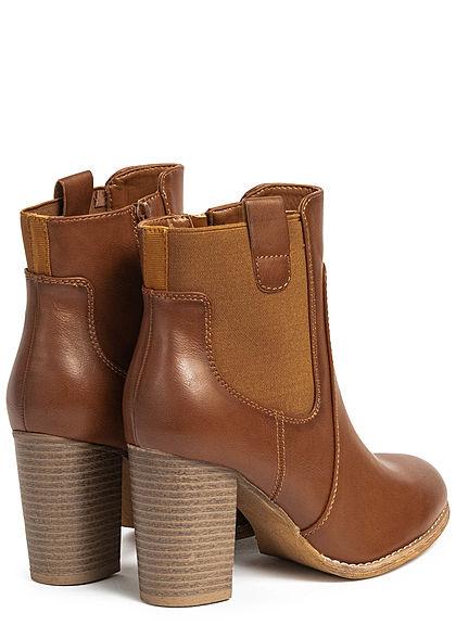 Seventyseven Lifestyle Damen Schuh Kunstleder High-Heel Stiefelette Absatz 8cm camel