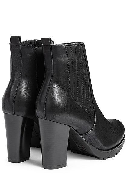 Seventyseven Lifestyle Damen Schuh Kunstleder High-Heel Stiefelette Absatz 8cm schwarz