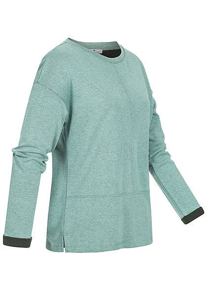 Tom Tailor Damen 2-Tone Longsleeve salvia grün schwarz melange