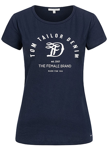 Tom Tailor Damen T-Shirt Logo Print real navy blau - Art.-Nr.: 20104783