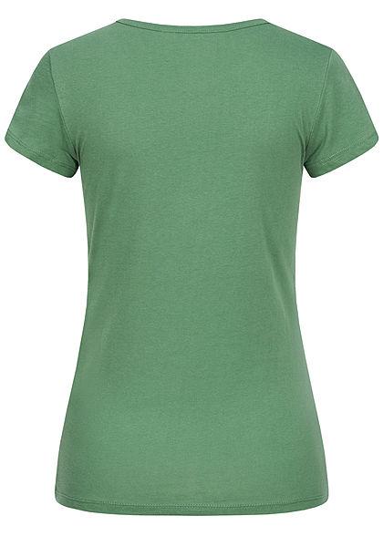 Tom Tailor Damen T-Shirt Logo Print vintage grün
