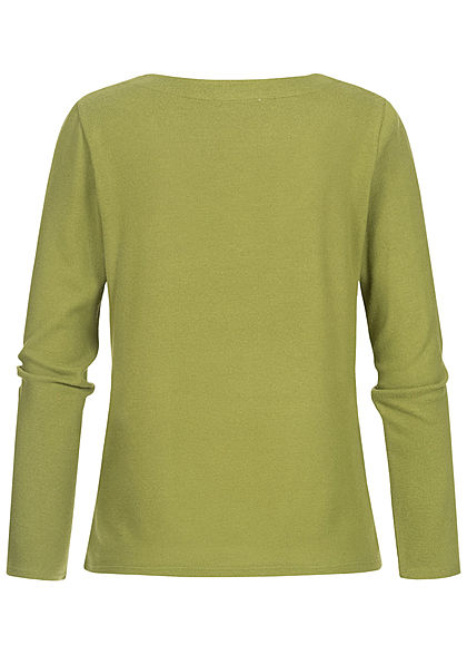 Tom Tailor Damen V-Neck Longsleeve moss grün