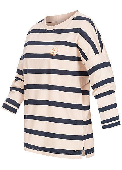 Tom Tailor Damen 7/8-Arm Longsleeve Streifen Muster Stickerei navy blau weiss