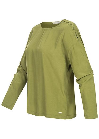 Tom Tailor Damen Langarm Bluse Schulter Knopfleiste moss grün