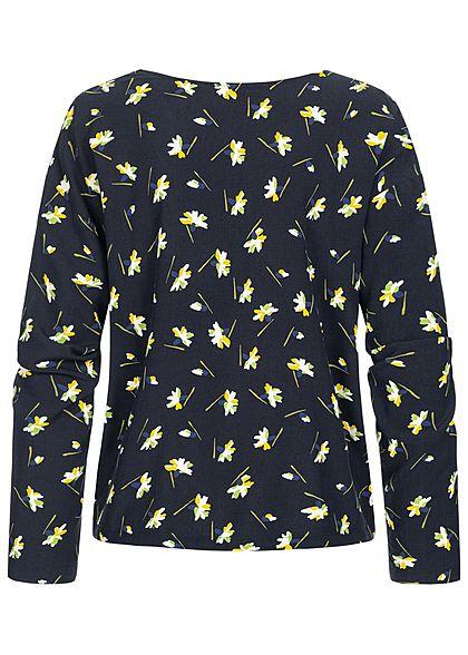 Tom Tailor Damen Langarm Bluse Schulter Knopfleiste Blumen Muster navy blau