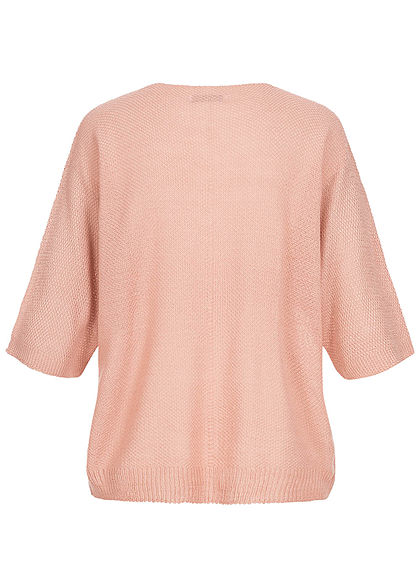 Hailys Damen 3/4 Fledermausarm V-Neck Shirt Vokuhila rosa