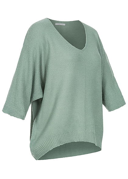 Hailys Damen 3/4 Fledermausarm V-Neck Shirt Vokuhila jade grün