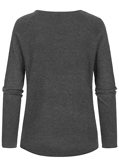 Hailys Damen Vokuhila Pullover Longsleeve mit Rollsaumkante schwarz grau melange