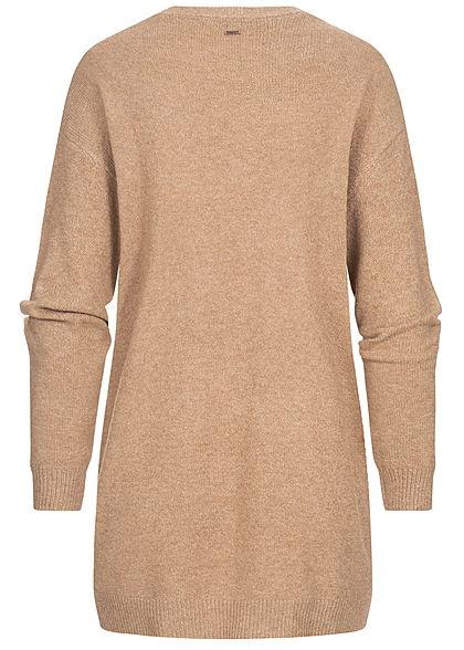 Hailys Damen Soft-Touch Solid Cardigan offener Schnitt 2-Pockets camel braun