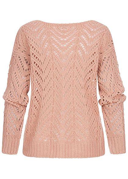 Hailys Damen Grobstrick Pullover Sweater U-Boot Ausschnitt rosa