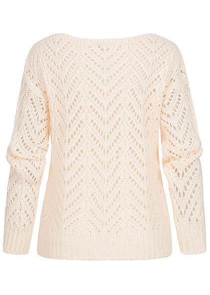 Hailys Damen Grobstrick Pullover Sweater U-Boot Ausschnitt cream beige