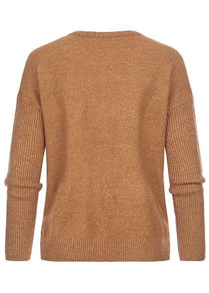 Hailys Damen Vokuhila Strickpullover Sweater Frontnaht camel braun