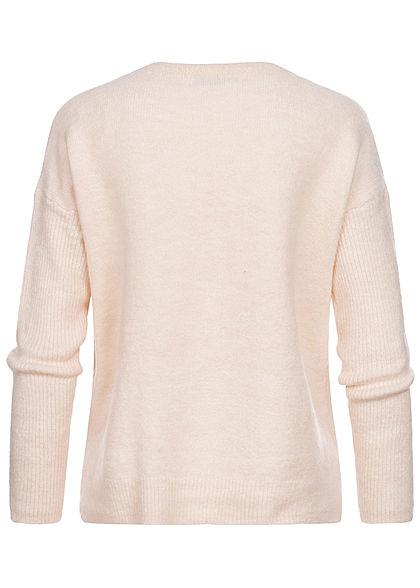 Hailys Damen Vokuhila Strickpullover Sweater Frontnaht hell beige melange