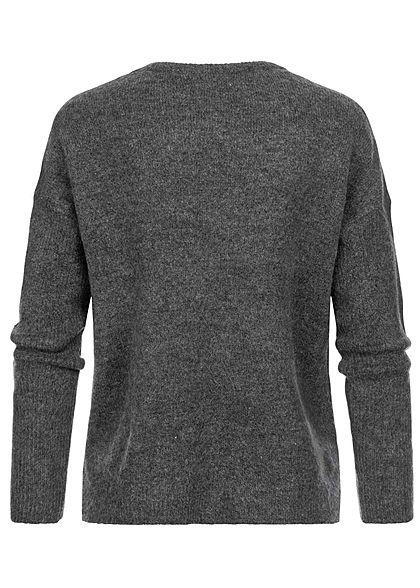 Hailys Damen Vokuhila Strickpullover Sweater Frontnaht dunkel grau melange