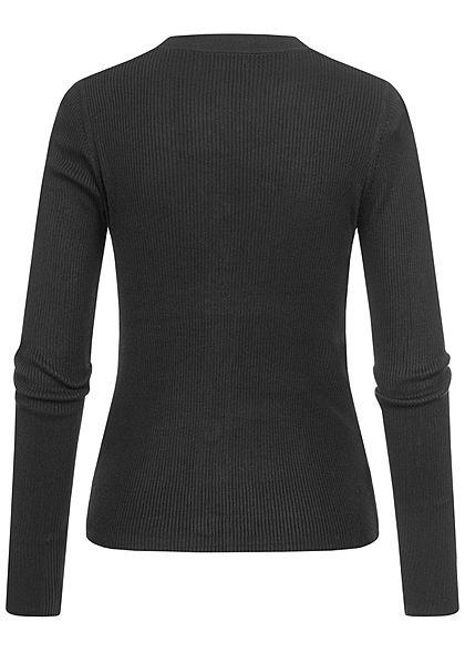 Hailys Damen  Ribbed V-Neck Cardigan Knopfleiste Pullover schwarz
