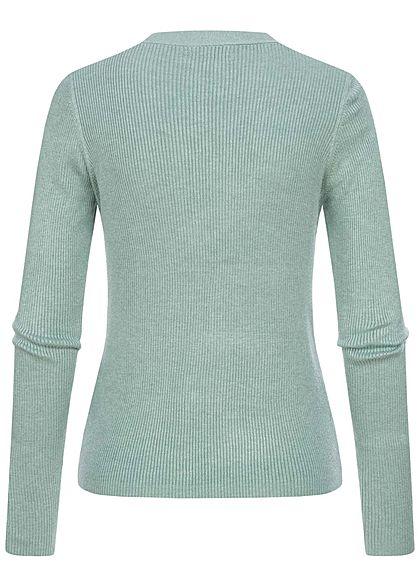 Hailys Damen  Ribbed V-Neck Cardigan Knopfleiste Pullover jade grün melange