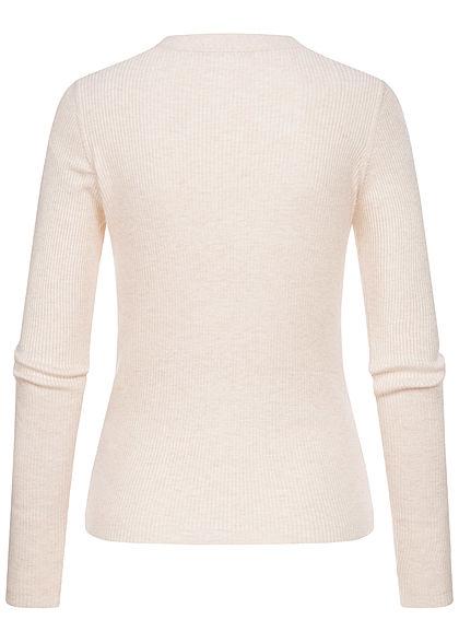 Hailys Damen  Ribbed V-Neck Cardigan Knopfleiste Pullover beige melange