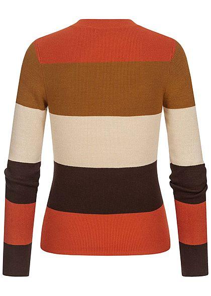 Hailys Damen Multicolor Ribbed Pullover Streifen Muster multicolor braun beige
