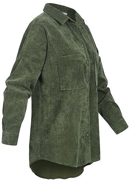 Hailys Damen Oversized Cord Bluse Vokuhila 2 Brusttaschen khaki grün