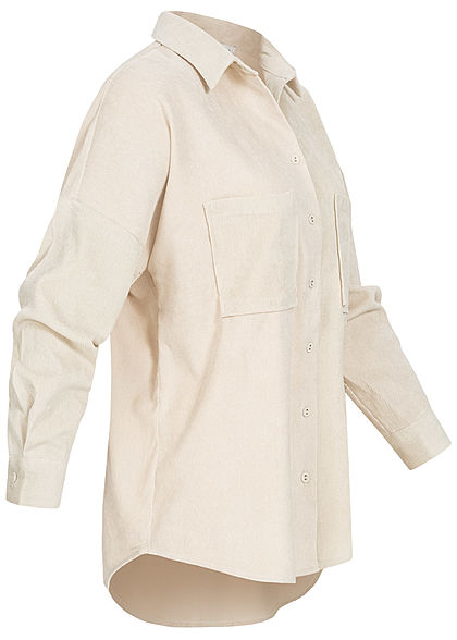 Hailys Damen Oversized Cord Bluse Vokuhila 2 Brusttaschen beige