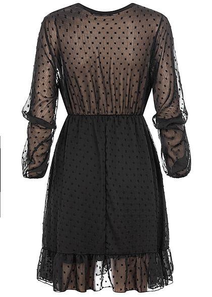 Hailys Damen V-Neck Chiffon Mini Kleid Mesh Dots 2-lagig schwarz