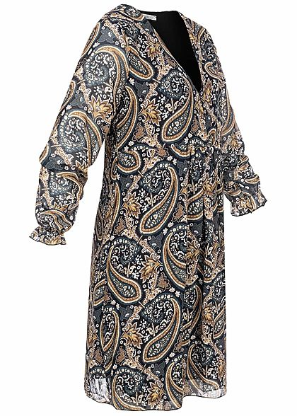 Hailys Damen V-Neck Chiffon Puffer Kleid Paisley Print 2-lagig schwarz braun