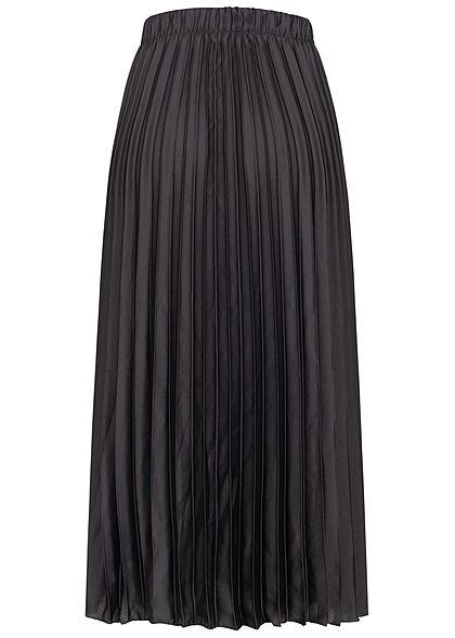 Hailys Damen Longform Faltenrock Gummibund schwarz