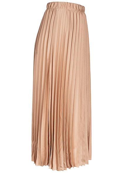 Hailys Damen Longform Faltenrock Gummibund beige
