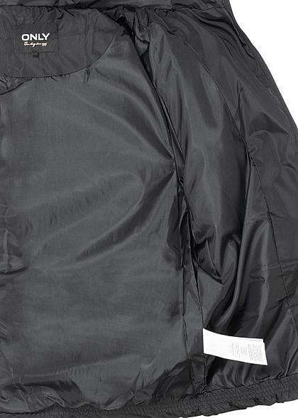 ONLY Damen kurze Steppjacke Kapuze mit abnehmbaren Kunst- Fellbesatz 2-Pockets schwarz