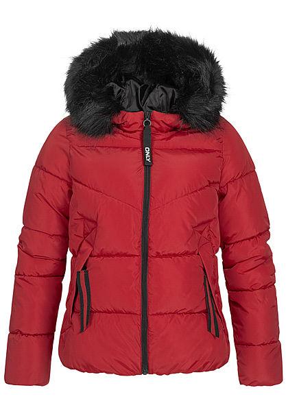 ONLY Damen kurze Steppjacke Kapuze mit abnehmbaren Kunst- Fellbesatz 2-Pockets rot