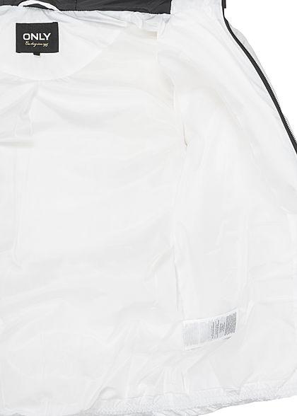 ONLY Damen kurze Steppjacke Kapuze mit abnehmbaren Kunst- Fellbesatz 2-Pockets weiss