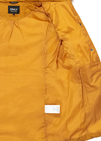 ONLY Damen lange Steppjacke Mantel abnehmb. Kunstfell Kapuze 2-Pockets pumpkin gelb