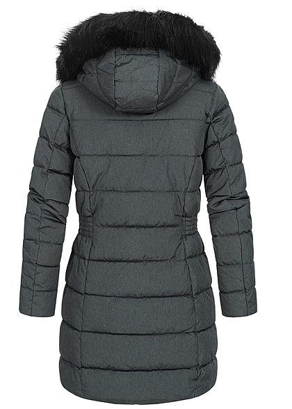 ONLY Damen lange Steppjacke Mantel abnehmb. Kunstfell Kapuze 2-Pockets dunkel grau