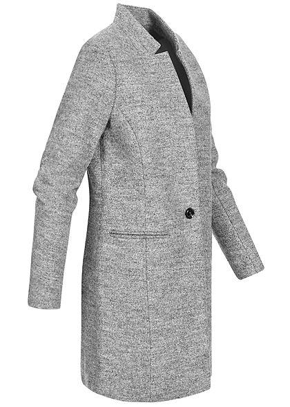 ONLY Damen Longline Coatigan Jacke 2-Pockets medium grau