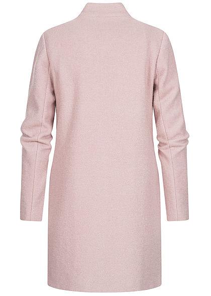 ONLY Damen Longline Coatigan Jacke 2-Pockets Shadow rosa