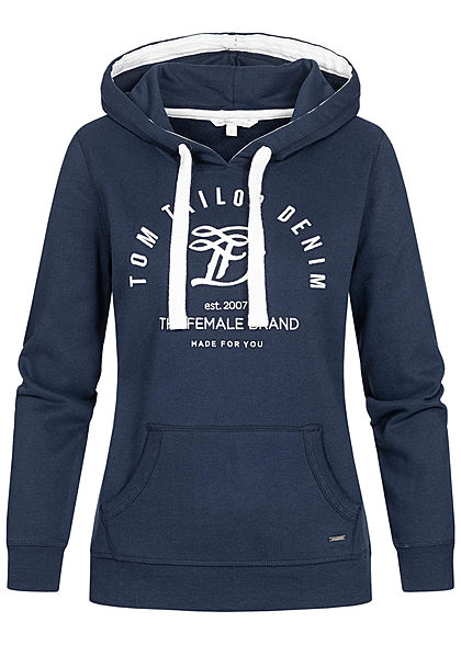 Tom Tailor Damen Basic Hoodie Kapuze Kängurutasche Logo Stickerrei real navy blau