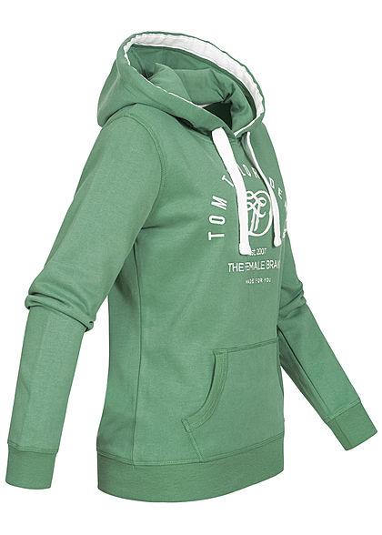 Tom Tailor Damen Basic Hoodie Kapuze Kängurutasche Logo Stickerrei vintage grün