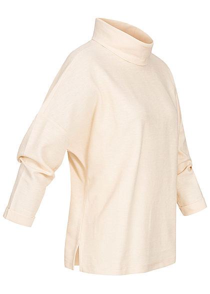 Tom Tailor Damen 3/4 Arm Rollkragen Struktur Pullover soft creme beige