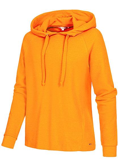 Tom Tailor Damen Ribbed Hoodie Nice Cosy Kapuze Tunnelzug orange gelb
