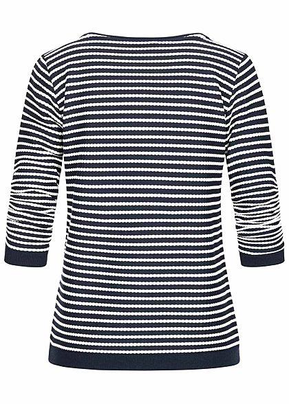 Tom Tailor Damen 3/4 Arm Flechtstruktur Pullover Streifen Muster blau beige