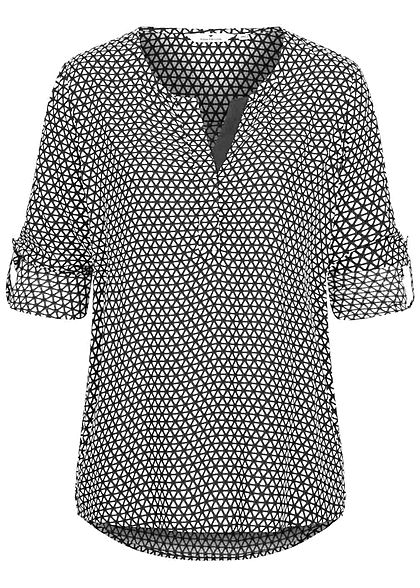 Tom Tailor Damen V-Neck Turn- Up Bluse Vokuhila Allover Print rosin dunkel grün