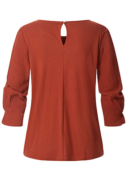 Tom Tailor Damen 3/4 Arm Blusen Shirt Materialmix rust orange