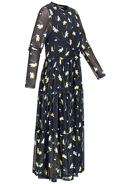 Tom Tailor Damen Midi Mesh Langarm Kleid Blumen Print 2-lagig navy blau gelb grün