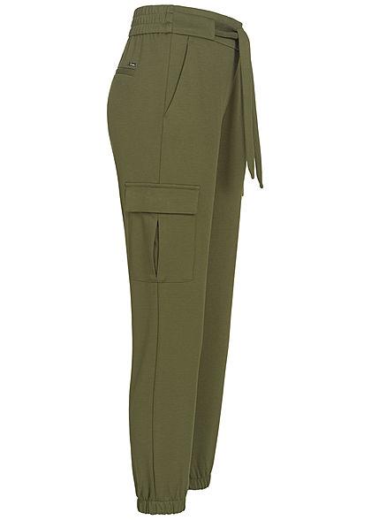 Tom Tailor Damen Cargo Stoffhose 4-Pockets inkl. Bindegürtel deep oliv grün