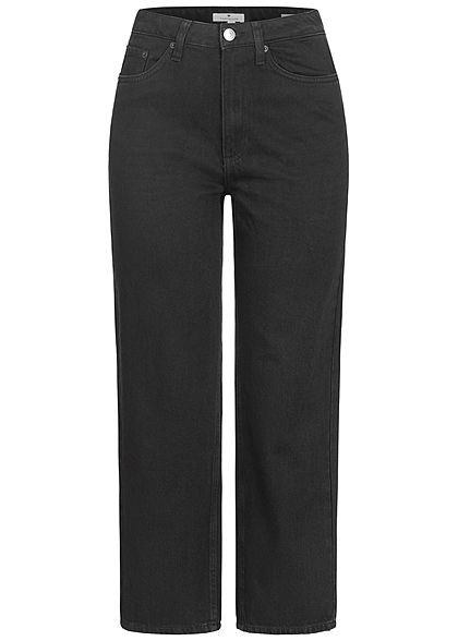 Tom Tailor Damen High-Waist Ankle Jeans Hose 5-Pockets weiter Schlag schwarz denim
