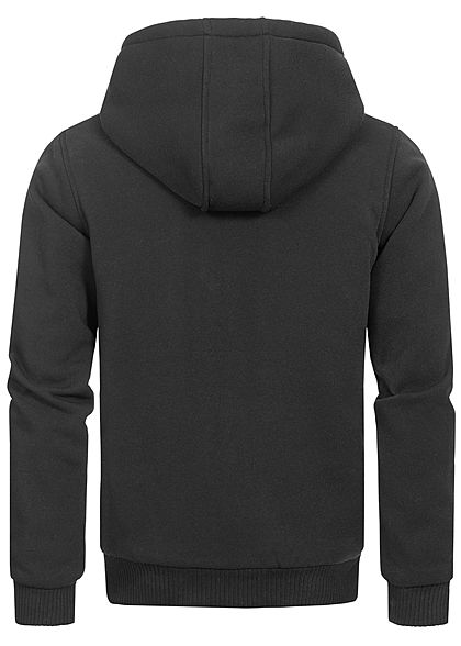 Brave Soul Herren Zip-Hoodie gefütterte Sweat Jacke Kapuze 2-Pockets schwarz charcoal